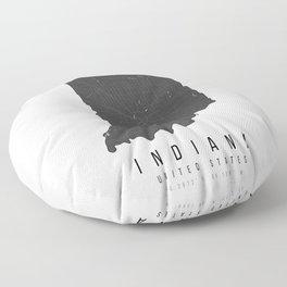 Indiana Mono Black and White Modern Minimal Street Map Floor Pillow