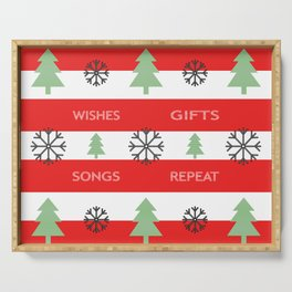 Christmas - wishes, gift, songs, repeat - red. Serving Tray