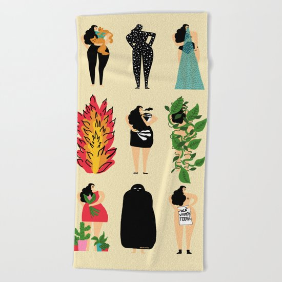 All of us live here Beach Towel