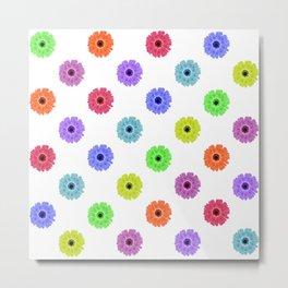 Multicolor Daisy Print Metal Print