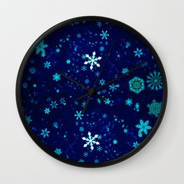 Blue Christmas Snowflakes Pattern Wall Clock