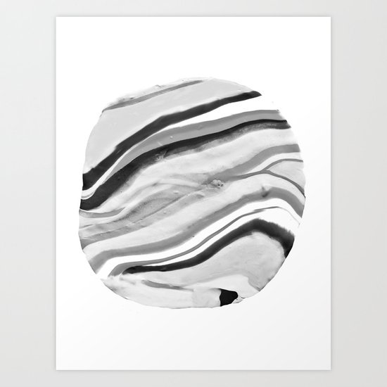Shadow of Ourselves Marbling Marble Circle World Black and White Art Print