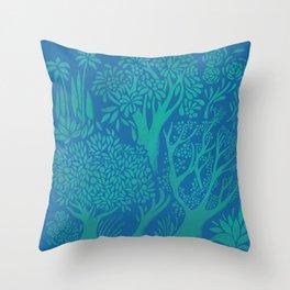 Blue Forrest Throw Pillow