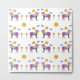 Quirky colorful cow animals folk art vibrant pattern  Metal Print