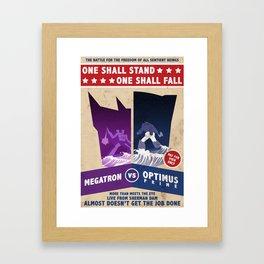 Optimus Prime vs Megatron Fight Poster Framed Art Print