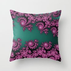 Fractal in Dark Pink and Green Throw Pillow