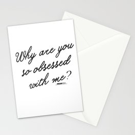 Womens Mean Girls Why Are You So Obsessed With Me Script  V-Neck T-Shirt Stationery Cards