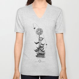 Abstract Techie Art, Thistle flower, Space Rocket, Soviet Sputnik, Vintage robot illustration Unisex V-Neck