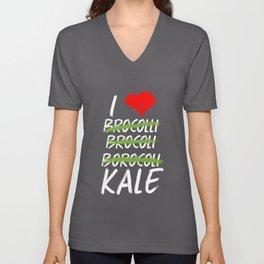 Kale Art for Vegans, Vegetarians n Broccoli Lovers Dark Unisex V-Neck