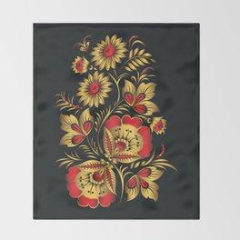Golden russian folk Throw Blanket