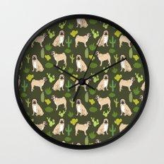 Pug Cactus succulent southwest cute children fur baby pug dog art pet portrait funny animals Wall Clock