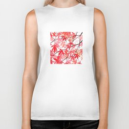 red orange maple leaves watercolor painting 2 Biker Tank