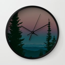 Blue Hour Pines Wall Clock