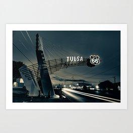 Tulsa Oklahoma Route 66 Western Gateway Arch in Sepia Art Print