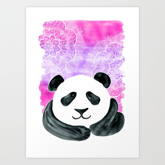Lazy Panda in Pink & Purple Watercolor with doodles  Art Print