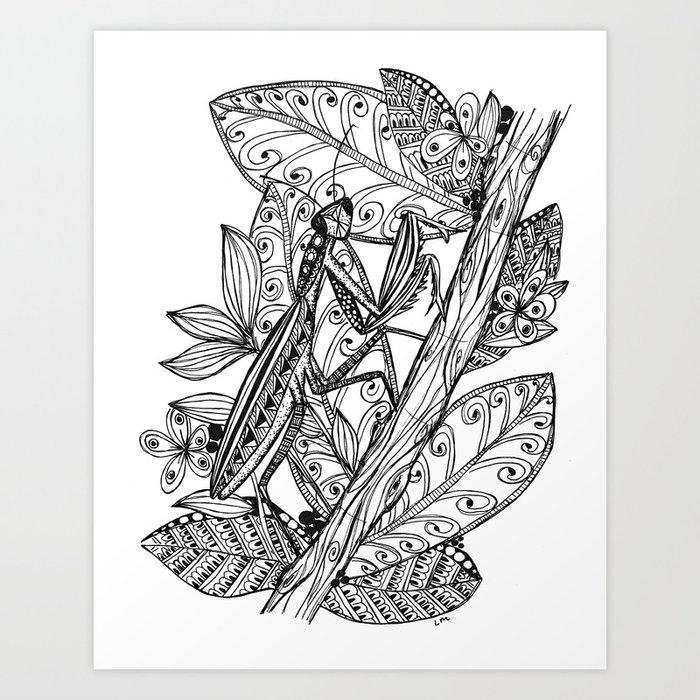 Praying Mantis in Ink Art Print