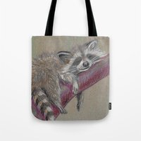 racoon Tote Bags featuring Racoon sleeping by Pendientera