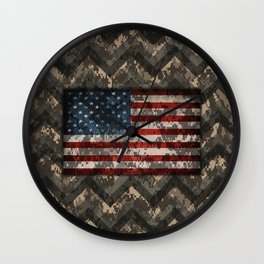 Digital Camo Patriotic Chevrons American Flag Wall Clock
