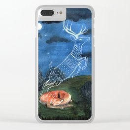 Fawn Dreaming Clear iPhone Case