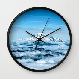 Mount Rainier Above the Clouds Wall Clock