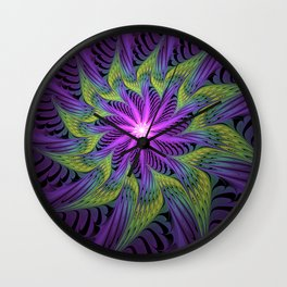 The Light from the Center, Fantasy Fractal Art Wall Clock