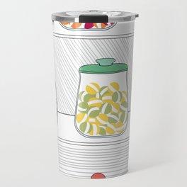 Candy Jars on Shelf Travel Mug