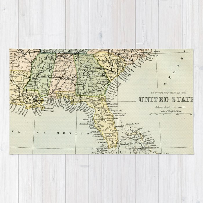 Vintage Map Of The South Of The United States Of America Rug By