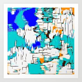 blue green and orange drawing abstract background Art Print
