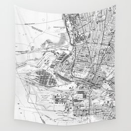 Vintage Map of Oakland California (1959) BW Wall Tapestry