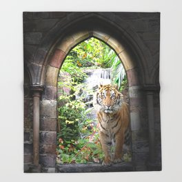 Jungle Tiger Waterfall Throw Blanket