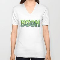 seahawks V-neck T-shirts featuring Legion of Boom Seattle 12th Man Art by Olechka