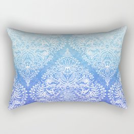 Out of the Blue - White Lace Doodle in Ombre Aqua and Cobalt Rectangular Pillow