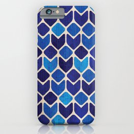 Retro blue abstract geometric art watercolor paint on paper texture illustration pattern iPhone Case
