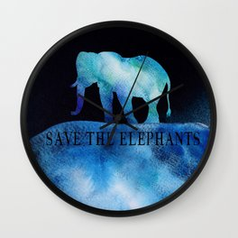 Save The Elephants Watercolor Painting Wall Clock