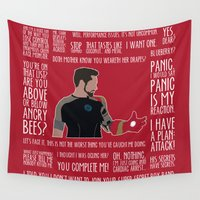 iron man Wall Tapestries featuring Iron Man by MacGuffin Designs