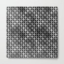 4 Leaf Quatrefoils in Black and Silver Vintage Faux Foil Art Deco Vintage Foil Pattern Metal Print