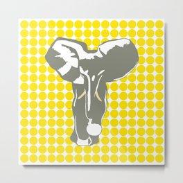 Golden Yellow Safari Dot with Pop Art Elephant Metal Print