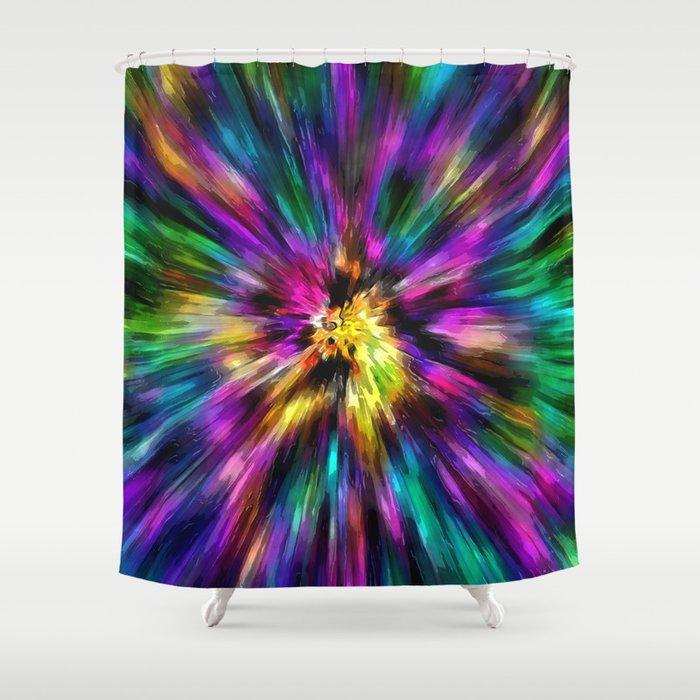 Vibrant Starburst Tie Dye Shower Curtain