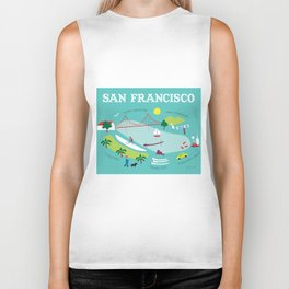San Francisco, California - Collage Illustration by Loose Petals Biker Tank