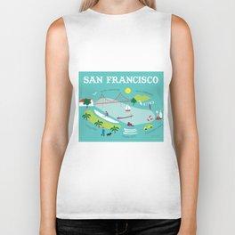 San Francisco, California - Collage Illustration by Loose Petals Biker Tank