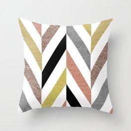 Rose Gold & Silver Herringbone Pattern Throw Pillow