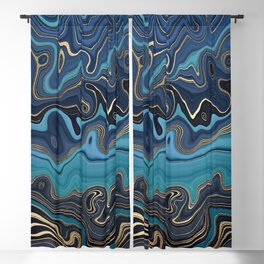 Hypnotic Gold + Blue Marble Geode Stylized Fluid Painting Blackout Curtain