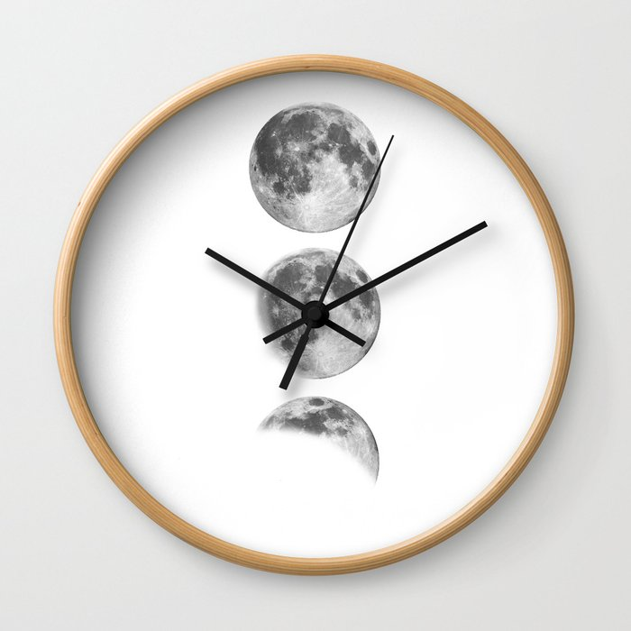 Full Moon cycle black-white photography print new lunar eclipse poster bedroom home wall decor Wall Clock