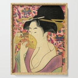 Japanese Art Print - Japanese Woman - Kushi Utamaro Serving Tray