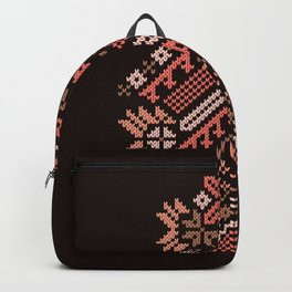 Knitted Christmas tree coral red on black background Backpack