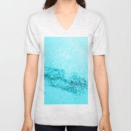 Aqua Blue Glitter #1 #shiny #decor #art #society6 Unisex V-Neck
