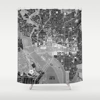 washington dc Shower Curtains featuring Washington DC Street Map by Color and Form