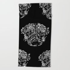 Botanical Garden Pug Beach Towel
