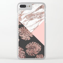 Blush Pink Rose Gold Marble Swiss Cheese Leaves Clear iPhone Case