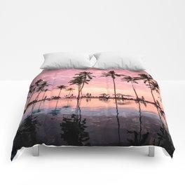 Pastel Sunset Palms Comforters